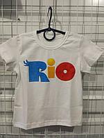 Летняя футболка детская с крупным рисунком, 92-116 см