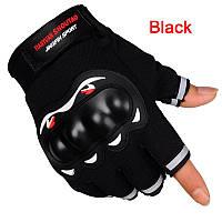 Перчатки для вело/мото спорта без пальцев, с защитой синие, фото 1
