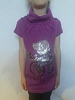 Туника вязанная с коротким рукавом и хомутом для девочки р.4-10 Nice Wear
