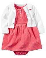 Летний комплект для новорожденной девочки 6 мес., 9 мес., 12 мес. Кардиган, платье-боди Heart print Carter's