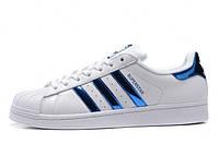Подростковые кроссовки Adidas superstar белые с синими полосками радуга