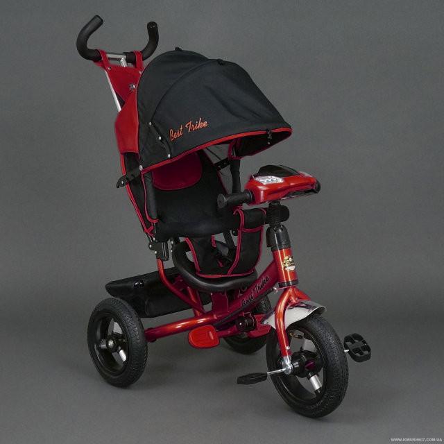 Детский трехколесный велосипед Best Trike с фарой (надувные колеса) 6588В красный