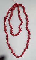 Коралл красный Крошка мелкая Бусы 90см