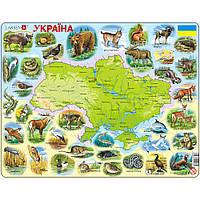 Пазл-вкладыш Карта Украины - животный мир, серия МАКСИ, Larsen