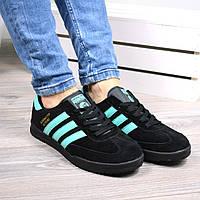 Кроссовки женские Adidas beckenbauer черные с мятой, спортивная обувь