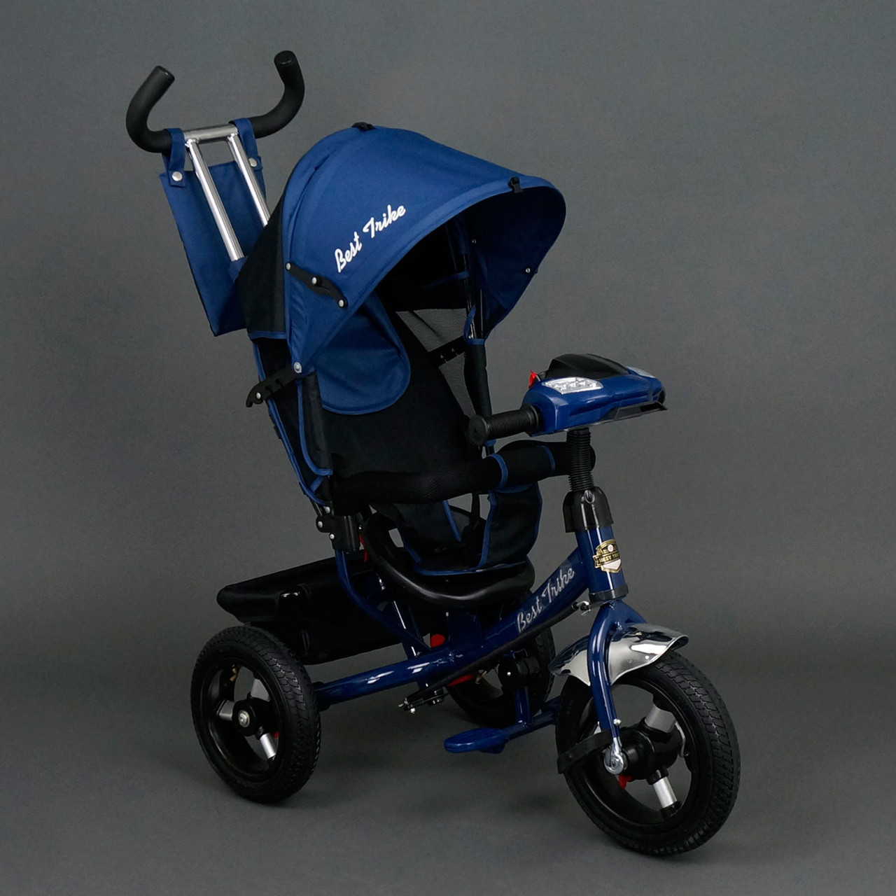 Детский трехколесный велосипед Best Trike с фарой (надувные колеса) 6588В синий