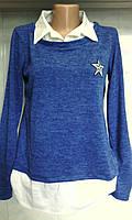женская кофта-рубашка с воротником