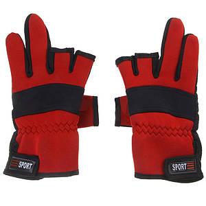 Перчатки для рыбалки неопрен с 3 открытыми пальцами красный