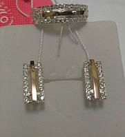 """Срібний жіночий комплект з золотими вставками """"Мрія"""", фото 1"""