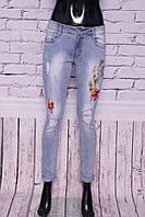 Джинсы женские зауженные стильные с вышивкой и камнями (код YD6392)