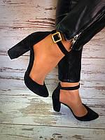Женские стильные туфли на каблуке черного цвета / замшевые туфли женские, удобные, стильные