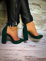 Женские стильные туфли на каблуке изумрудного цвета / замшевые туфли женские, удобные, стильные