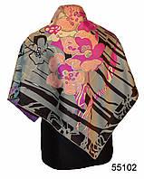 Шелковый серый атласный платок орхидея