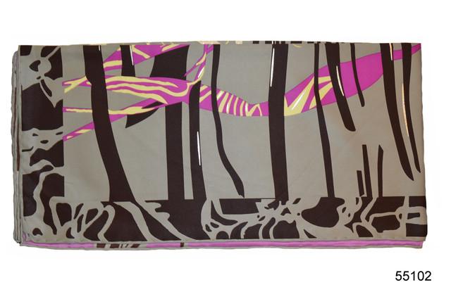 Шелковый серый атласный платок орхидея 2