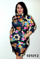 Платье французский трикотаж , рукав 3/4, размеры: 52,54,56