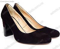 Женскиe замшевые туфли лодочки на широком кабуке средней высоты