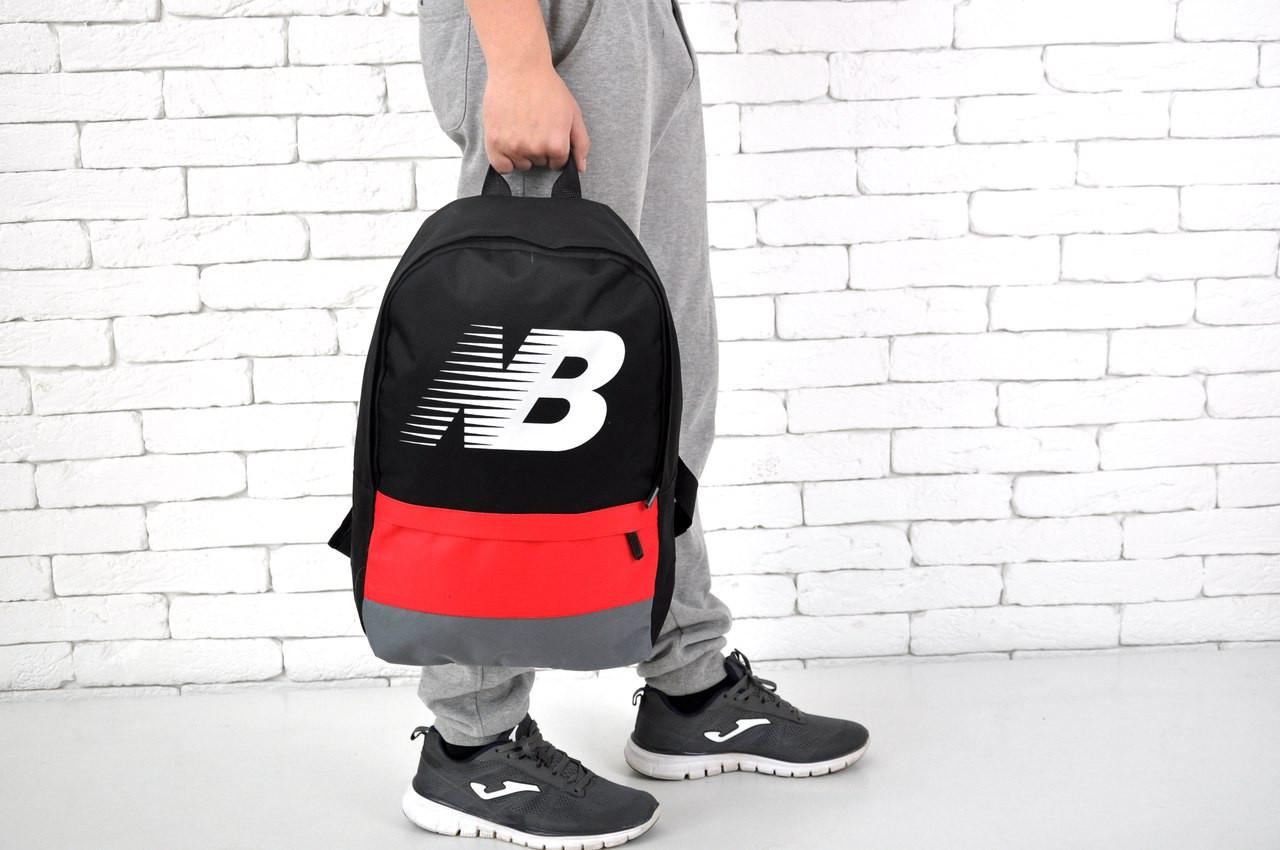 Молодежный рюкзак New Balance, черный с красным Нью Баланс (Реплика ... 4e54a7a4b60