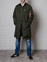 Куртка бомбер мужская Olymp (удлинённая) цвета хаки