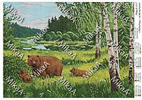 """Схема для полной зашивки бисером - """"Медведица с медвежатами"""" А3"""