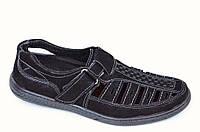 Туфли летние сандали босоножки хорошее качество черные Львов содидные  модель 2016 44