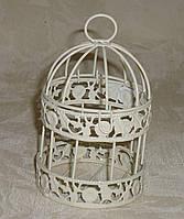 Винтажная декоративная клетка кремовая мини