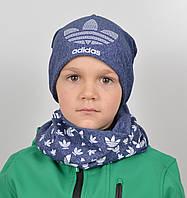 Комплект меланж х/б Adidas (шапка+хомут), фото 1