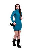 Платье-гольф туника длинный рукав бирюзовая короткая осень-зима Gepur