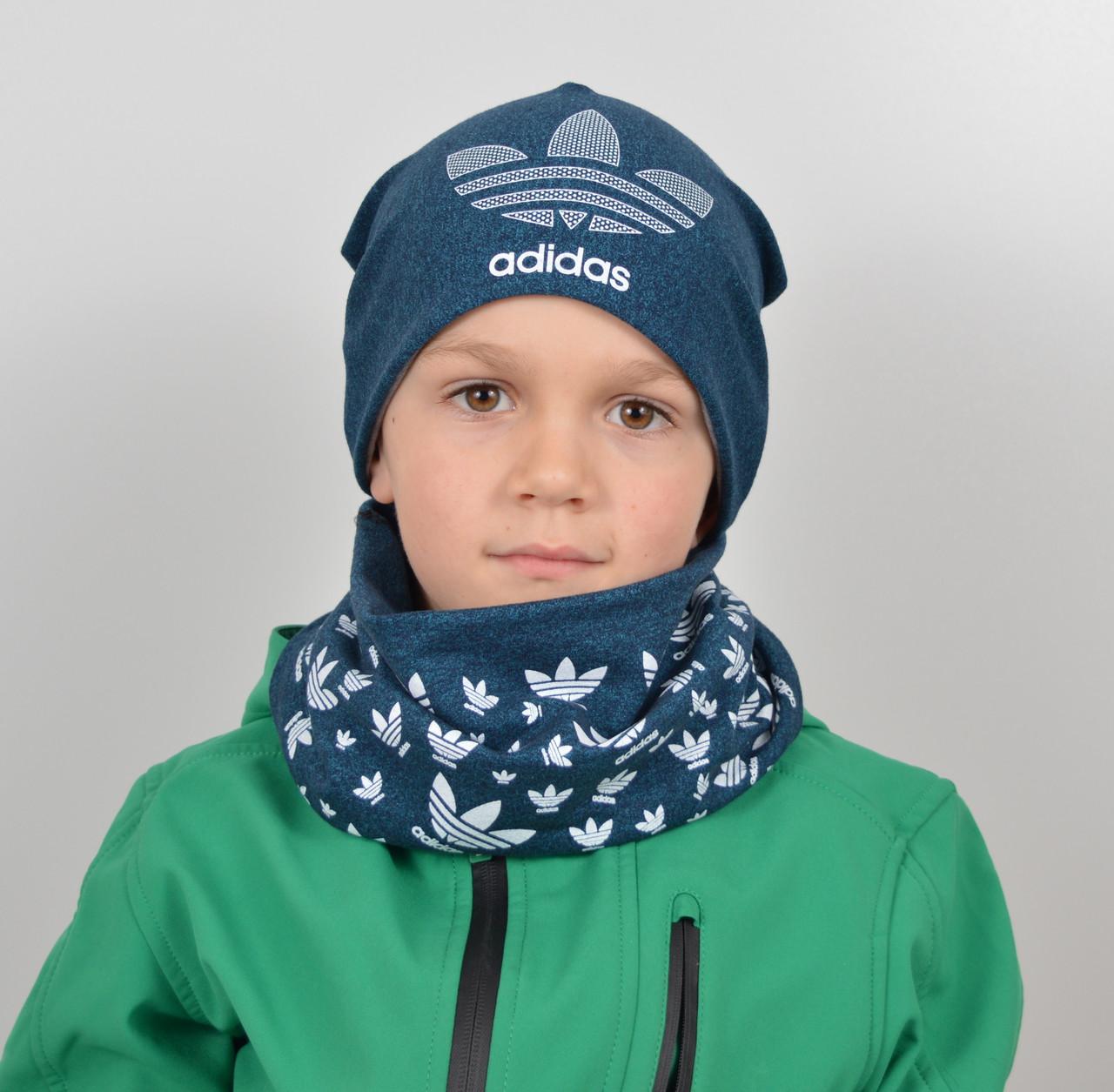 Комплект меланж х/б Adidas (шапка+хомут)