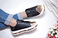 Стильные женские кроссовки на платформе, золотой носок