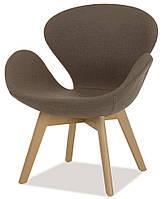Кресло Сван Вуд Армз коричневое на деревянных ножках реплика Arne Jacobsen Swan Chair With Wood Legs