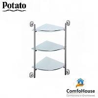 Полка стеклянная угловая POTATO P2907-3 3-х ярусная (матовое стекло)