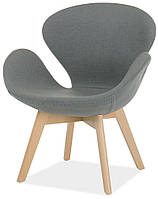 Кресло Сван Вуд Армз серое на деревянных ножках реплика Arne Jacobsen Swan Chair With Wood Legs