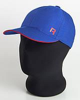 """Бейсболка спорт """"R"""" ярко-синяя с красным кантом, шестиклинка плащевка точка"""