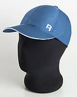 """Бейсболка спорт """"R"""" цвета джинс с белым кантом, шестиклинка плащевка точка"""
