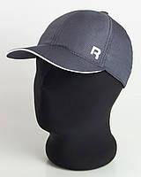 """Бейсболка спорт """"R"""" темно-серая с белым кантом, шестиклинка плащевка точка"""