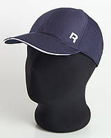 "Бейсболка спорт ""R"" темно-синяя с белым кантом, шестиклинка плащевка точка"