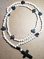 Четки белые деревянные с крестами из черного дерева 100 бусин