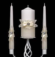 """Свадебный набор свечей """"Семейный очаг"""" цвета айвори"""