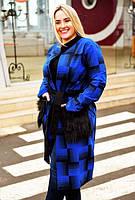 """Стильное женское пальто-кардиган в больших размерах """"Кашемир Клетка Карманы Мех"""" в расцветках (2203-355)"""