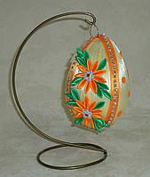 Декоративное подвесное яйцо из лент среднее желто-оранжевое, фото 1