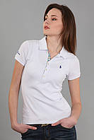 Женская классическая футболка поло с воротником мужская застежка (реплика) Polo ralph lauren белого цвета