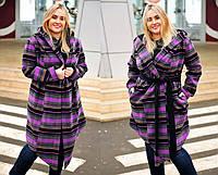 """Женское стильное пальто-кардиган в больших размерах """"Кашемир Клетка Углы Капюшон"""" в расцветках (2203-353)"""