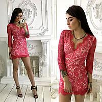 Обворожительное, женское мини-платье из гипюра с открытой спинкой.Фабричный Китай РАЗНЫЕ ЦВЕТА
