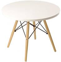 Стол журнальный Тауэр Вуд белый, дизайн Сharles Eames, диаметр 60 см высота 55 см Бесплатная доставка Деливери
