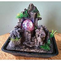 Фонтан настольный 3 слоника на горе с аркой подсветка, шар, насос18=12=29 1692 СЛОН