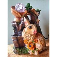 Фонтан настольный Кролик упитанный с подсолнухами подсветка, шар, насос 18=15=24 3450