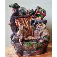 Фонтан настольный Два слона и два потока подсветка, шар, декоративный домашний комнатный мини с насосом