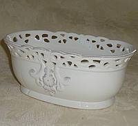 Керамический горшок фарфоровый белый овальный, фото 1