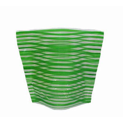 Ваза складная пластиковая Зеленые полоски18х22 см