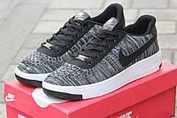 Мужские кроссовки Nike Airforce, плотная дышащая сетка, серые с белым / кроссовки мужские Найк Аирфорс, модные